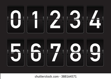 Black flip counter with white numbers. Isolated on black
