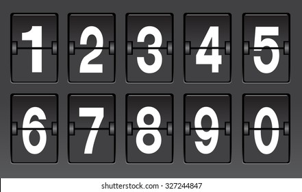 Black flip number scoreboard vector illustrations