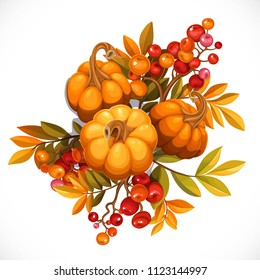 Black flirty bow decorated with small pumpkins and twigs of a viburnum or rowan object isolated on a white background