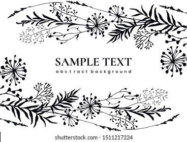 Black floral abstract background with meadow wild herbs and flowers. Cover design. Invitation design. Wildflowers. Wild grass. Vector illustration.