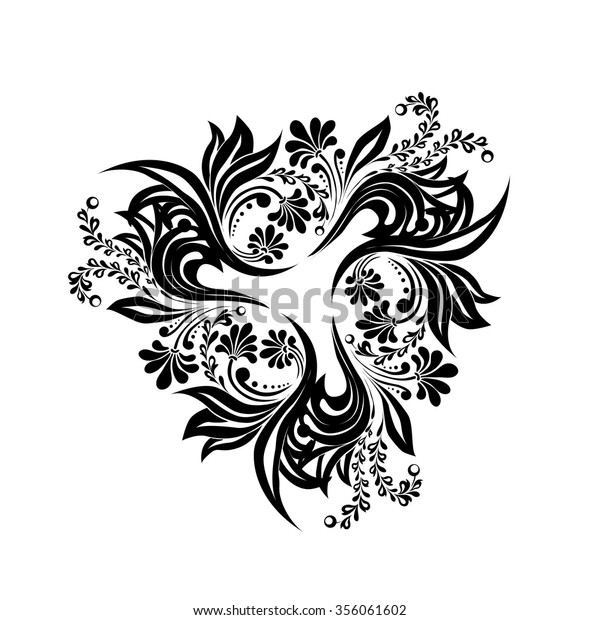 Black Floral Branch Silhouette Monogram Designvector Stock Vector Royalty Free 356061602