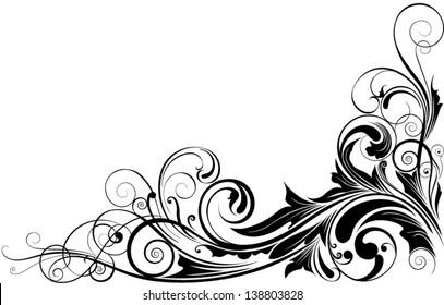 Black floral corner.Detailed swirl floral corner design in black