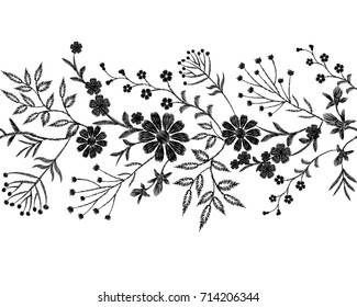 Black floral embroidery ornament. Fashion clothes decoration seamless border band stitch texture embroidered field flower leaves. White background vector illustration art