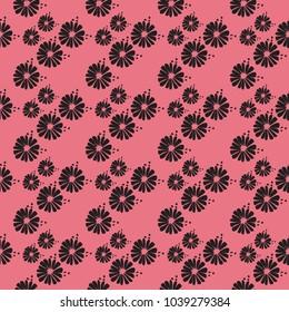 Black Floral on Pink Background