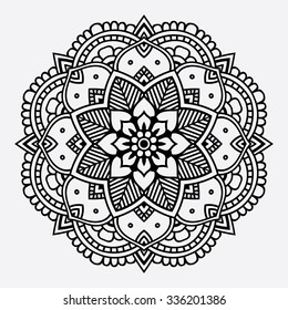 Black floral orient mandala on the white background