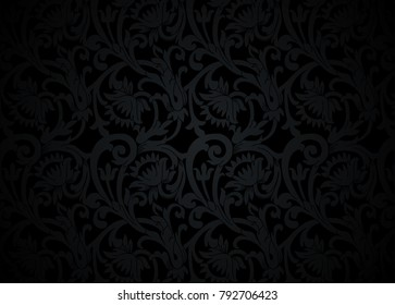 Black floral ornament with flowers and curls in a retro style