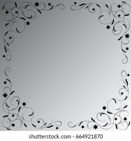 The black floral ornament on the black-white gradient background. Angular vignette.