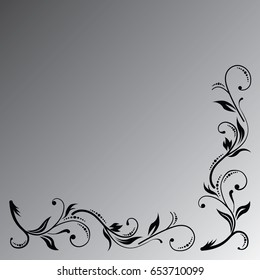 The black floral ornament on the grey gradient background.
