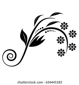 The black floral ornament on the white background.
