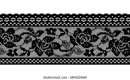 Black Floral Pattern Trim Lace Ribbon for Decorating