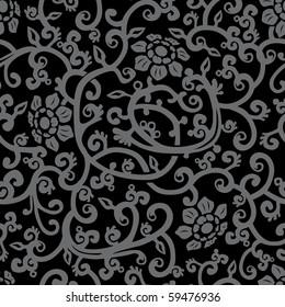 Black floral seamless background. Vector illustration