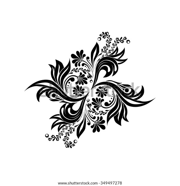 Black Floral Silhouette Monogram Designvector Isolated Stock Vector Royalty Free 349497278