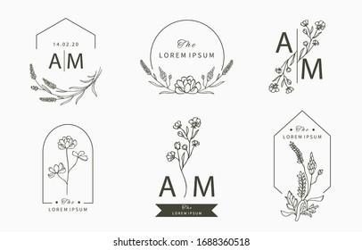 Schwarze Blütenlogo-Kollektion mit Blättern,geometrische.Vektorillustration-Illustration für Symbol, Logo, Aufkleber, bedruckbar und Tattoo
