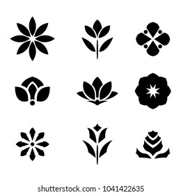 Black flower icon set