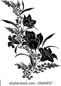 black flower isolated on White background. Vector illustration