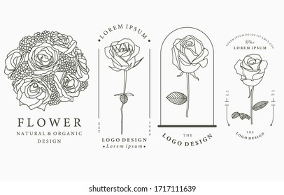 Black flower logo collection with rose,leaves,geometric.Vector illustration for icon,logo,sticker,printable and tattoo