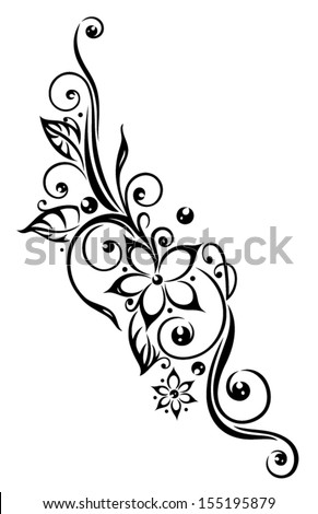Black Flowers Illustration Tribal Tattoo Style Stockvector