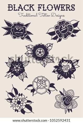 Black Flowers Traditional Tattoo Designs Stock Vector Royalty Free