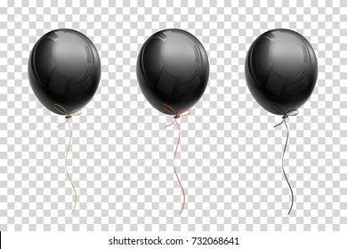 Black flying balloon with ribbons of gold, red, black on a transparent background.  Creative object templates.  Vector illustration