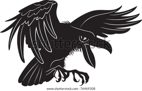 black flying crow