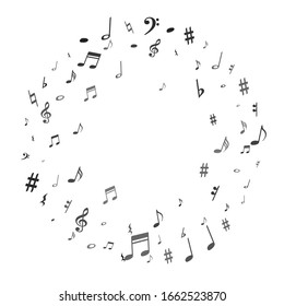 Black flying musical notes isolated on white background. Grayscale musical notation symphony signs, notes for sound and tune music. Vector symbols for melody recording, prints and back layers.
