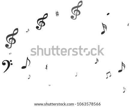 Black flying musical notes isolated on white backdrop. Fresh musical notation symphony signs, notes for sound and tune music. Vector symbols for melody recording, prints and back layers.