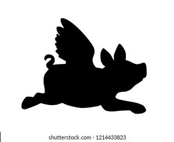 Black flying pig on a white background