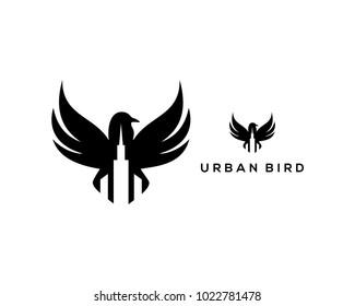 Black Flying Urban Bird Illustration Symbol Abstract Logo Vector