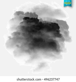 Black fog or smoke isolated transparent special effect. Black vector cloudiness, mist or smog background. Vector illustration
