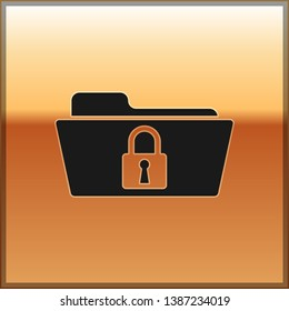 Black Folder and lock icon isolated on gold background. Closed folder and padlock. Security, safety, protection concept. Vector Illustration