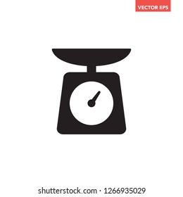 Black food scale / kitchen tool icon. Simple glyphs flat design interface element for app ui ux, interface, web, button, eps 10 vector isolated on white background