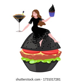 Black food and tiny people eating fast food isolated on white cartoon vector illustrations. Little girl with coctail, black ice cream and burger from dark flour. Halloween witch party food.