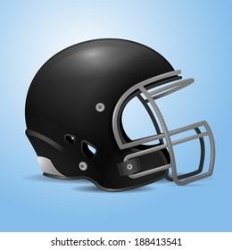 Black football helmet vector illustration.