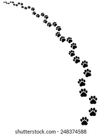Black footprints of cat, turn left, vector