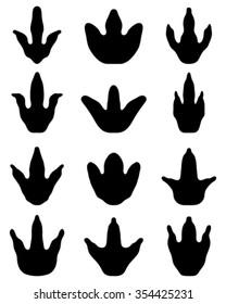 Black footprints of dinosaur, vector