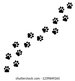 Black footprints of dogs. Paw print, animal tracks – stock vector