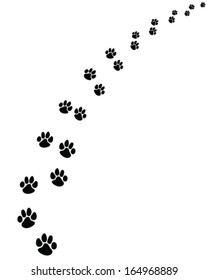 Black  footprints of dogs, turn  right -vector illustration