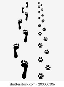 Black footprints of man and dog, vector