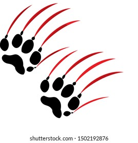 black footprints of wolf predator animal with red scratches