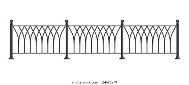 Black forged lattice fence. vector illustration isolated on white background