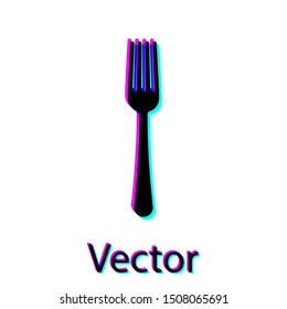 Black Fork icon isolated on white background. Cutlery symbol.  Vector Illustration