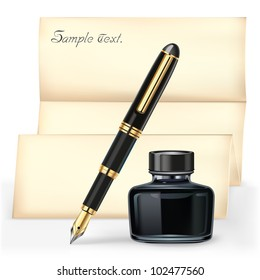 Black fountain pen and the Ink bottle with Brown letter paper.