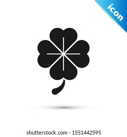 Black Four leaf clover icon isolated on white background. Happy Saint Patrick day.  Vector Illustration