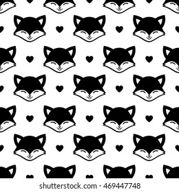Black Fox Cartoon Seamless Pattern with Heart