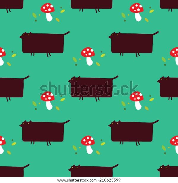 Black Fox Mushroom Seamless Pattern Forest Stock Vector Royalty Free 210623599