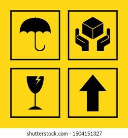 black fragile symbol icon on yellow background.