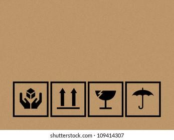 Black fragile symbol on cardboard - Vector