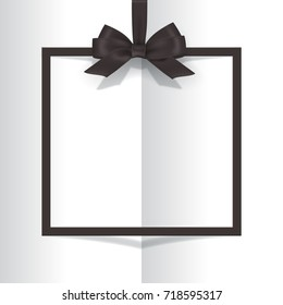 Black frame with black bow on book background. Vector postcard or greeting card template.