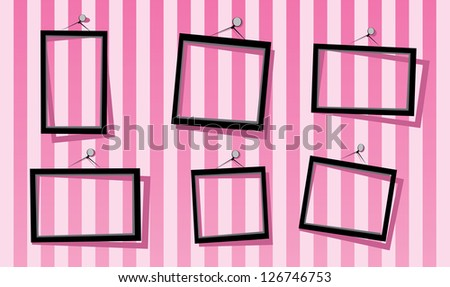 Black Frames On Pink Striped Wall Stock Vector Royalty Free