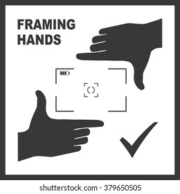 Black framing hands as a template for photo design. Nice frame made from fingers. Vector perspective view illustration.